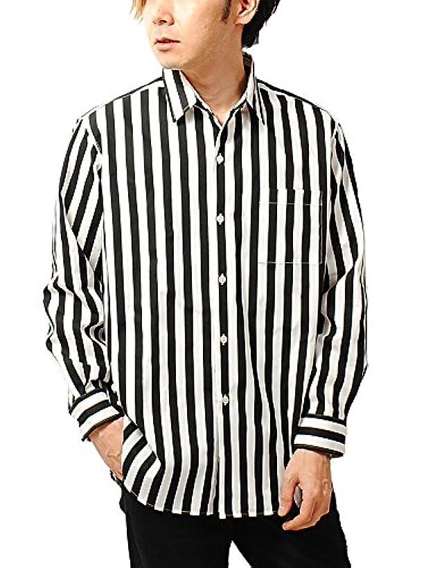 泥棒時計開梱チャオ (ciao) 日本製 ビッグシルエット ブロード 長袖 シャツ ストライプ ギンガムチェック チェック メンズ (M, 04.BLACK(ワイドストライプ))