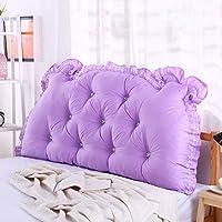 単色 ヘッドボード, 枕 ダブル 長い角 畳 ソフトパック ベッド 腰枕 綿-紫の W90xH70cm(35x28inch)