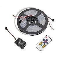 流れるLEDテープライト SMD5050 WS2811 125種類パターン 5m RGB 12V リモコン操作 調光 記憶型 防水 白ベース コントローラー付