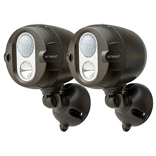 MR BEAMS(ミスタービームス) NETBRIGHT(ネットブライト) LED 人感センサー ライト 2個セット ブラウン 【無線連動タイプで最大50個まで連結可能/乾電池式】 MBN352