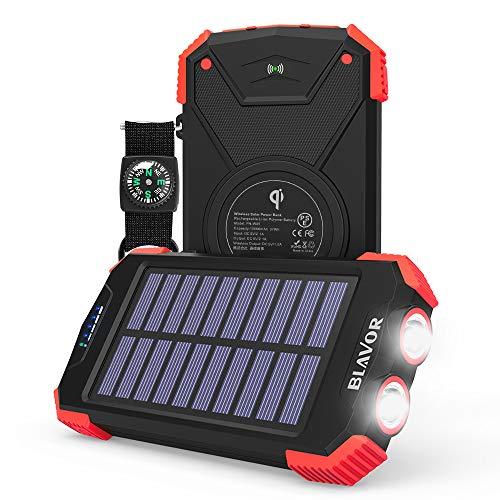 ソーラーモバイルバッテリー ソーラーチャージャー qiワイヤレス充電器 太陽光で充電可能 10000mAh モバイルバッテリー 2台同時充電 二つ懐中電灯 地震/災害/旅行/出張/アウトドア活動などの必携品 iPhone/Android各種対応 日本語説明書付き(赤)