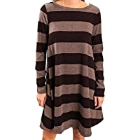 Young17 Casual Autumn Women's Crew Neck Striped Long Sleeve Swing Tunic Dress with Pockets