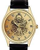 シンボリックフリーメイソン宇宙の幾何学腕時計。ウィトルウィウス的人体図。 レオナルド・ダ・ヴィンチ。