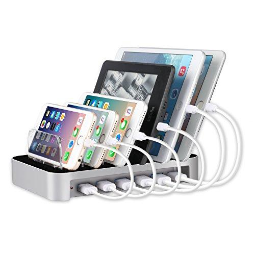 MixMart 6ポートUSB充電器 6台同期 急速充電 充電ステーション デスクトップ 充電スタンド iPhones/iPad/Nexus/Galaxy/ タブレットPC スマートフォンなど充電対応 シルバー