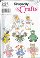 New Simplicity Pattern-8454-Simplicity Crafts By Faith Van Zanten-Clothes for 20cm - 23cm Stuffed or Beanbag Animals-Bride, Groom, Poodle, Bunny, Ballerina, Doctor, Rain, Cheerleader-One Size