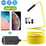 BlueFire 5MP HD WiFi Borescope 1944P Semi-Rigid Wireless Endoscope IP68 Waterproof Inspection Camera Snake Camera for Android and iOS Smartphones iPhone Samsung iPad Tablet(33FT)