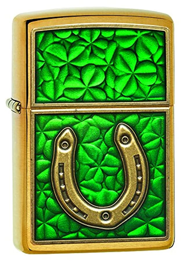 優れた冗談でもちろんZIPPO(ジッポー) Clover (クローバー) ライター 日本未発売 29243 Brushed Brass Horseshoe [並行輸入品]