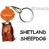 本革製 犬キーホルダー シェットランドシープドック VANCA CRAFT (日本製 職人の手作り)