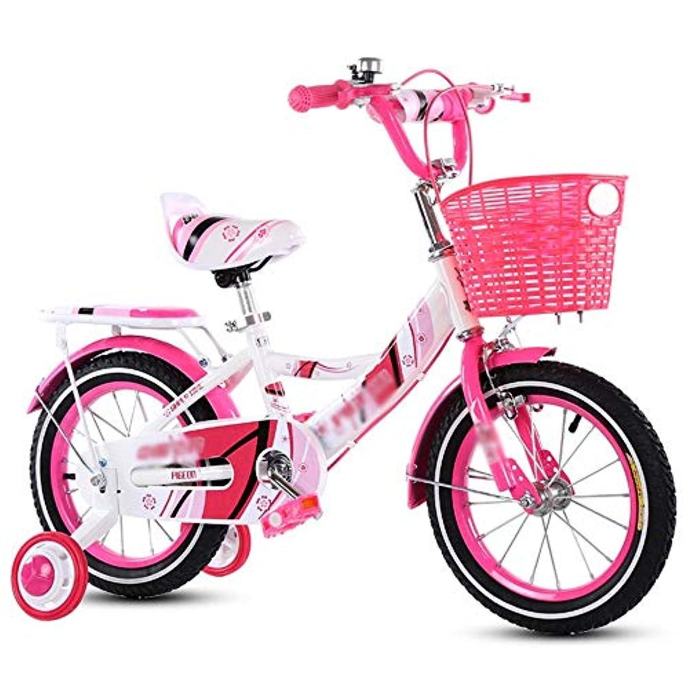 エラー管理する傾向があります自転車こども バスケット付きガールズバイク、トレーニングホイール付き12,14,16,18インチのガールズバイク、子供用のギフト、女の子の自転車 -アウトドアスポーツ