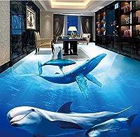 "FFYYJJLEI Underwater World Dolphin Mother Daughter Pleasure 3D Stereo Bathroom Living Room Floor Wallpaper Mural-350(L)x260(W)(11'5""x8'6"")ft"