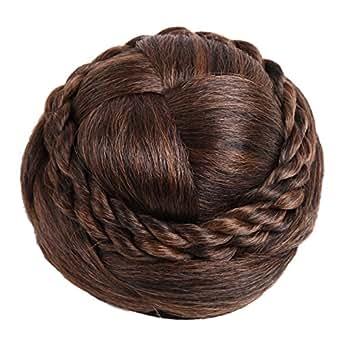 [N-hilfe] 編み込み シニヨン ネット 付き レディース ポイント ウィッグ お団子 つけ毛 髪飾り (ブラウン)