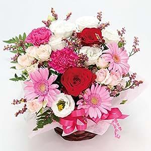 HanaDokoroかんも屋特製 『笑み花』 フラワーアレンジ フラワーギフト ピンク系 手書きメッセージカード お誕生日 お祝い ギフト プレゼントに最適