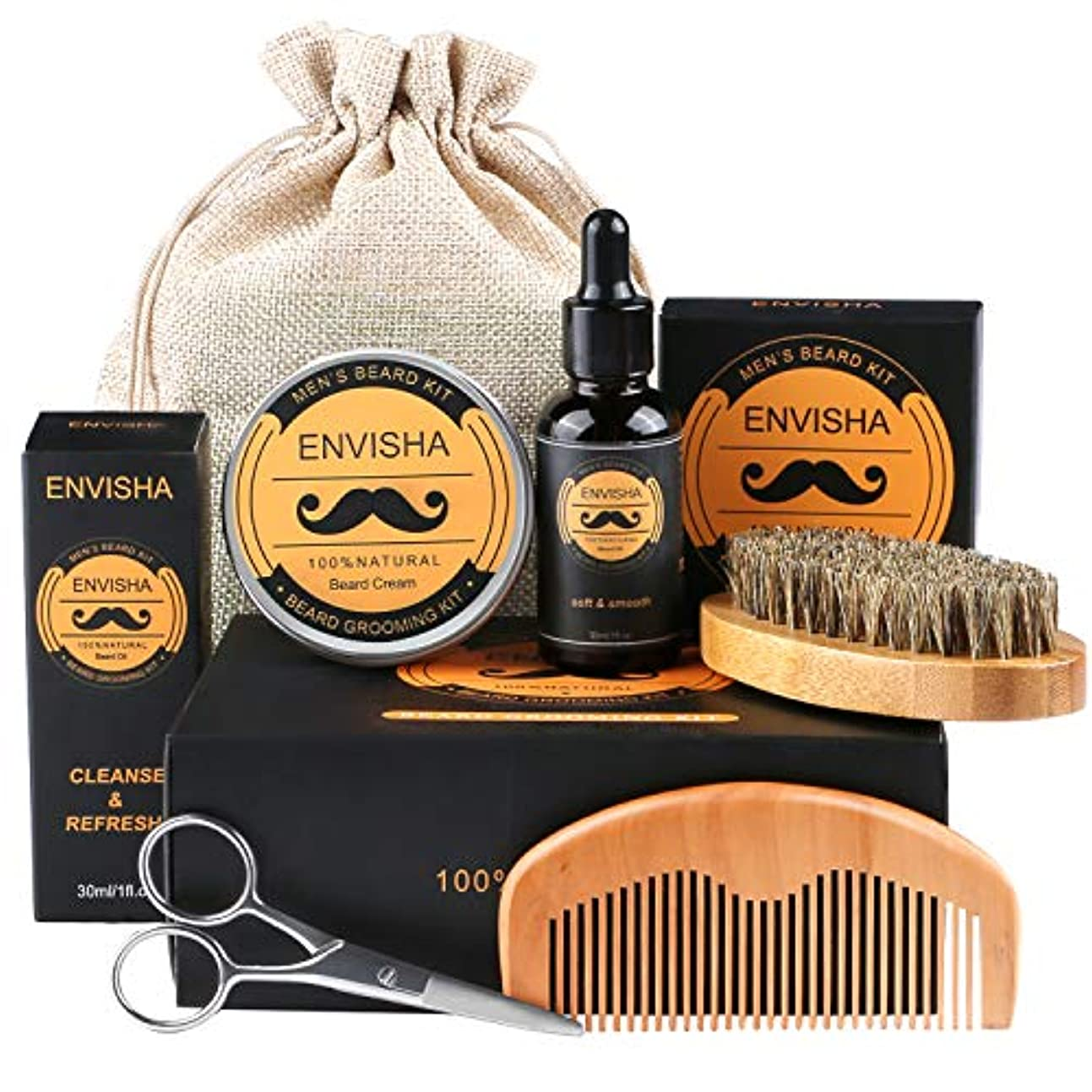 距離船酔い油Beard Kit、Fixget Beard Care Kit(無料のひげの手入れとトリミングキット付き)100%のイノシシのひげのブラシ、木のひげの櫛、ひげ、男性のための口ひげのはさみお父さん夫