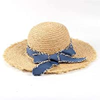 Hats & Caps Raffia Straw Sunhat, 10cm Wide Brim Raffia Summer Women Lady Beach Sunhat with Tassel Dome Bucket sunhatGarland Sunbonnet (Color : 1, Size : 56-58CM)