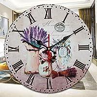 壁掛け時計壁掛け時計アンティーク風のぼろぼろの時を刻む北欧スタイルのリビングルームの時計パープル