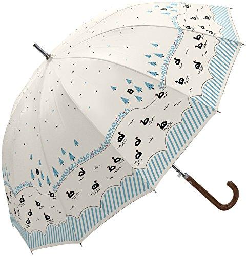 レディース 傘 おしゃれな スワンボート柄 12本骨 ジャンプ傘 55cm (オフホワイト)