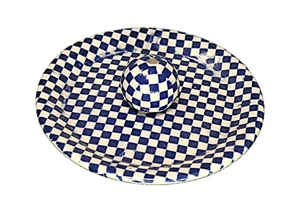 すずめお勧め振るう9-55 市松 青 9cm香皿 お香立て お香たて 陶器 日本製 製造?直売品