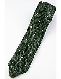 (フェアファクス) FAIRFAX ドット柄 剣先タイプのニットタイ グリーン系 シルク100% ネクタイ イタリア製 kt19672