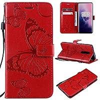 OnePlus 7 Pro、バタフライフラワーフローラルパターンPUレザーウォレットスタンドケース(リストストラップ付き)(色:赤)