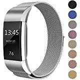 "For Fitbit Charge 2 Bands Metal, Swees Milanese Stainless Steel Replacement Accessories Magnetic Metal Small & Large Bands ( 5.5"" - 9.9"") for Fitbit Charge 2, Silver, Gold, Rose Gold, Black, Colorful"