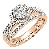 0.75カラット(CTW10Kゴールドラウンドダイヤモンド分割シャンクハート型婚約リングバンドセット3/ 4ct