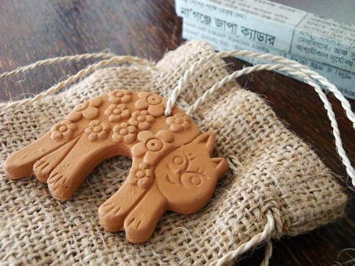 セットアップ石鹸松明フェアトレード 素焼アロマストーン(猫)