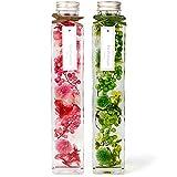 [フェリナス] ハーバリウム 角瓶(2本セット) ピンク&グリーン(緑) 結婚 ギフト 贈り物 誕生日 記念日 pink&green