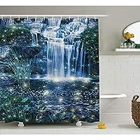 WZYMNYL 魔法の装飾シャワーカーテン妖精幻想的な滝と水に魅惑的な光で新鮮な風景バスルーム