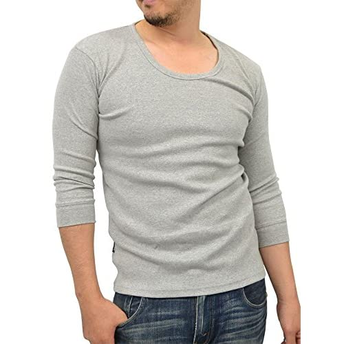 (アヴィレックス) AVIREX ストレッチ Uネック 無地 7分袖 Tシャツ メンズ L ミディアムグレー