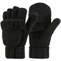 HDE Womens Winter Wool Fingerless Mittens   Warm Convertible Gloves Mitten Cover