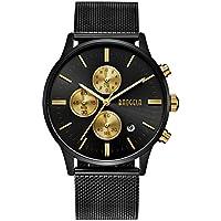 Mens Watch Waterproof, Analog Quartz Wrist Watches Black Stainless Steel Mesh Milanese Band, Chronograph Date - BAOGELA