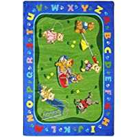 Joy Carpets Kid Essentials Early Childhood Teddy Bear Playground Rug, Multicolored, 3'10 x 5'4 by Joy Carpets [並行輸入品]