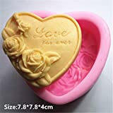 Love Rose Heart Silicone Fondant Cookie Cake Decorating Baking Mold Tools