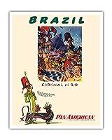 ブラジル - リオのカーニバル - パンアメリカン航空 - ビンテージな航空会社のポスター によって作成された ウィリアム・リンジー・プレスコット c.1960 - アートポスター - 41cm x 51cm