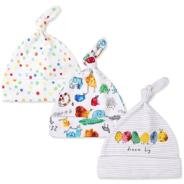 JiAmy 帽子 ベビー用 新生児用(0~6カ月) 3枚セット帽子 フライスボーダー キャップ 出産祝い
