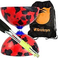 Jester Diabolo Set - Red/Black with Aluminium Handsticks and Firetoys Bag by Juggle Dream Diabolo [並行輸入品]