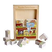 厚いブロックパズルロシアキャンディー動物楽園城子供の教育木製玩具,C