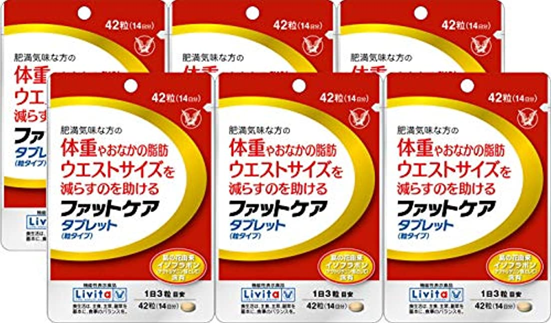 隣人同行する人気の【6個セット】ファットケア タブレット 42粒(機能性表示食品)