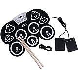 SONONIA  ポータブル USB 9パッド ロールアップ 電子 ドラム スティックキット 打楽器 - ホワイト