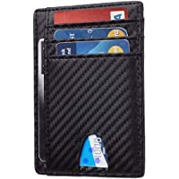 Card Holder for Men, TERSELY Minimalist Wallet RFID Blocking Front Pocket Secure Thin Credit Card Holder (Carbon Fibre), Holds up to 7 Cards and Bank Notes, Ideal for Travel