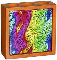 Rikki Knight Chromatic Rainbow Swirls Design Inch Tile Wooden Tile Pen Holder [並行輸入品]