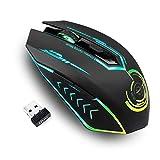 ゲーミングマウス ワイヤレス 無線 充電式 5段階DPI調整可能 500~7000DPI プログラム可能 光学式 LEDライト 7色変化 無線マウス MMO RPG ゲームに向け ブラック