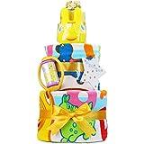 ロディ Rody おむつケーキ 男の子 女の子 名入れ刺繍 3段 出産祝い オムツケーキ バスタオル (メリーズパンツタイプLサイズ)
