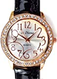 Amazon.co.jp大人可愛いレディース腕時計 ラウンドフェイス クロコ型押し ブラック 黒 ベルトウォッチ 白 [tvs302-lady]