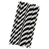 ストロー,SODIAL(R)ペーパーパーティーストライプストロー - 黒/白