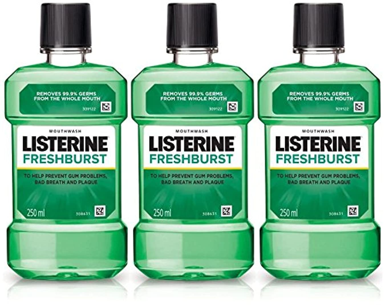 鍔かび臭いレザーListerine Fresh Burst Mouthwash 250ml (Pack of 3)