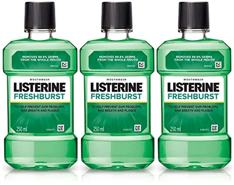 Listerine Fresh Burst Mouthwash 250ml (Pack of 3)