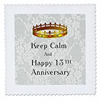 3dローズイメージのKeep Calm and Happy 13th Anniversary With Crownキルト正方形14 by 14インチ、14 x 14
