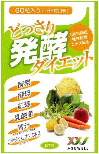 どっさり発酵ダイエット 60粒 100%国産植物発酵エキス (酵素・酵母・紅麹・乳酸菌・青汁・コタラヒム 配合)