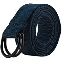 """Men's & Women's Canvas D-Ring Buckle Belts, (Many Colors & For Waists 28-54"""")"""